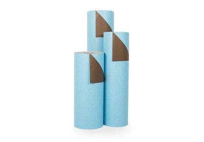 Kadopapier 30/50 cm 200 meter 2 kleuren l.blauw/bruin