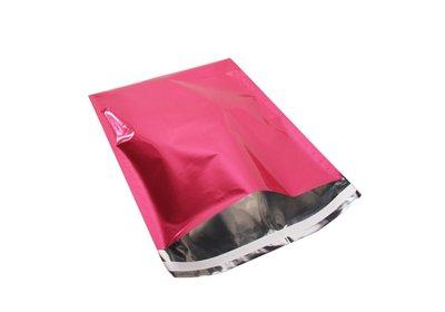 Luxe geschenk/ verzendzakken Metallic Folie roze á 25 stuks