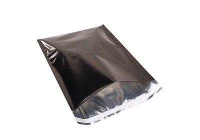 Luxe geschenk/ verzendzakken Metallic Folie zwart á 25 stuks