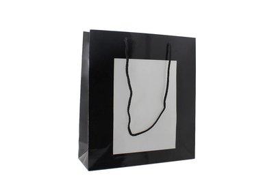 Papieren koorddraagtas + insteekvenster zwart