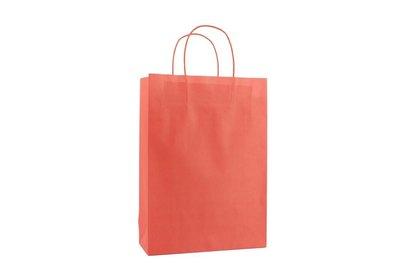 Papieren twisted draagtas + bodemkarton Rood