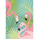 Druck A3 - Flamingo mit Palmen