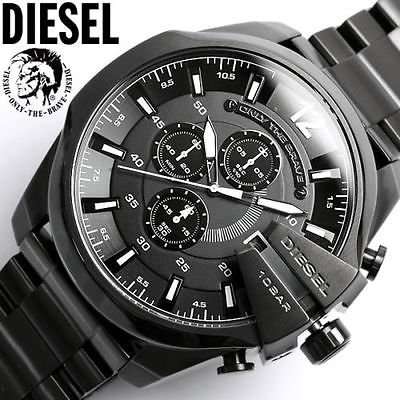 diesel xl herrenuhr edelstahl schwarz chronograph mega. Black Bedroom Furniture Sets. Home Design Ideas