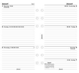 Filofax Agendavulling Personal 1 week op 2 pagina's jan-dec Nederlandstalig 2017