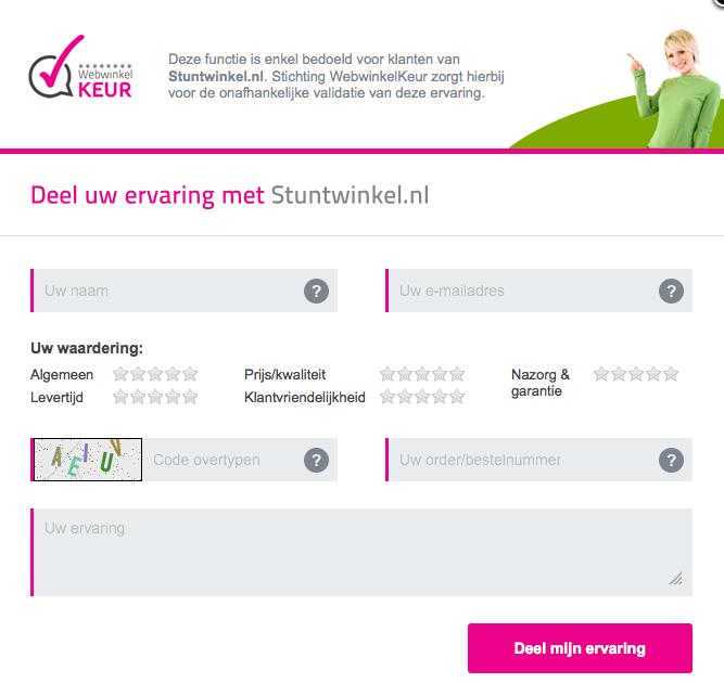 Deel uw koopervaring bij Stuntwinkel.nl met andere consumenten