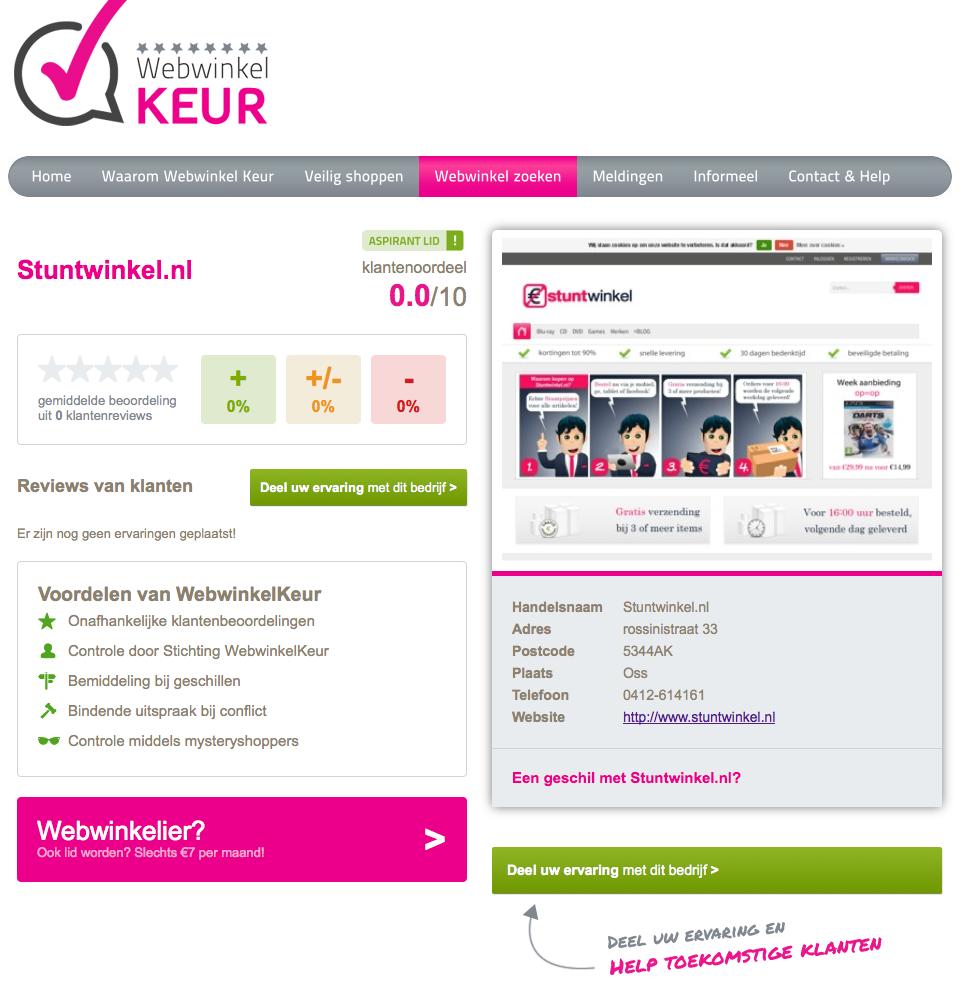 Keurmerk webwinkel Stuntwinkel.nl