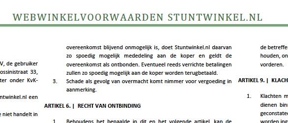 Maatwerkjurist.nl stelt algemene voorwaarden op voor stuntwinkel.nl