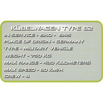 Cobi Cobi - Small Army - WW2 Kubelwagen Type 82 (2339)