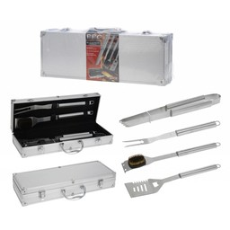 BBQ Collection 4-Delige barbecue gereedschapsset in luxe koffer RVS
