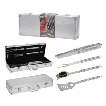 BBQ Collection 4-Delige RVS Barbecue Gereedschapset in luxe koffer