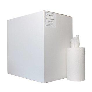 Papierrollen eenlaags mini zonder koker (wit - 12 rollen)