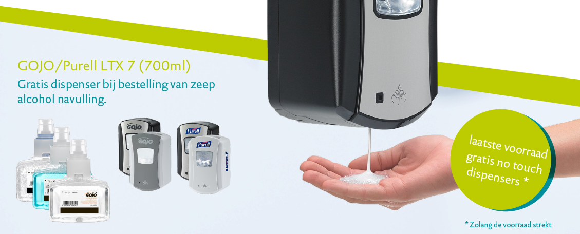 Gratis no touch dispenser bij bestelling zeep of alcohol