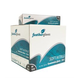 Feather Gloves Soft nitril handschoenen zwart 1000 STUKS