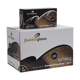 Feather Gloves Nitril handschoenen zwart EXTRA STRONG 1000 STUKS -
