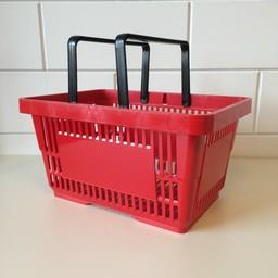 Winkelmandje rood  2 handgrepen 22 liter