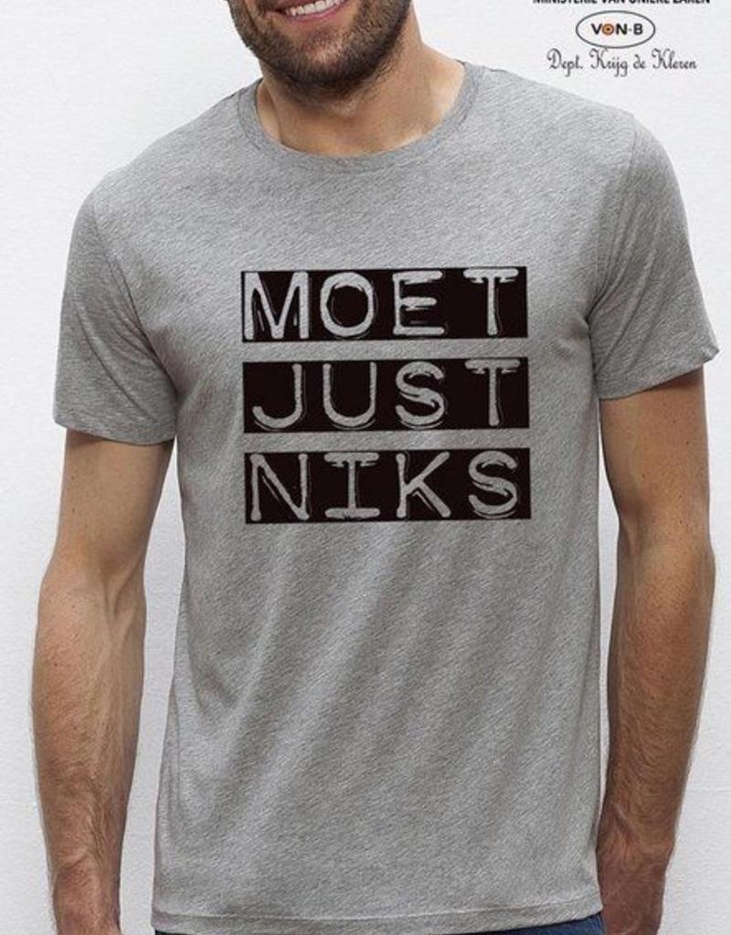 Departement Krijg de Kleren Moet Just Niks 'vet'- t-shirt grijs
