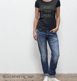Departement Krijg de Kleren Moet Just Niks - t-shirt zwart/goud
