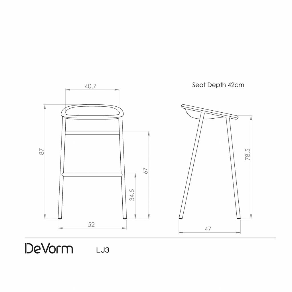 De Vorm Lj3 Bar Stool Workbrands # Schema De Meuble Dimension