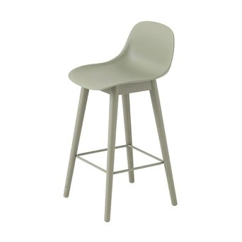 Muuto Muuto Fiber Bar Stool w. backrest | Wood base