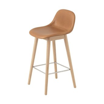 Muuto Muuto Fiber Bar Stool w. backrest | Wood base | Volledig bekleed