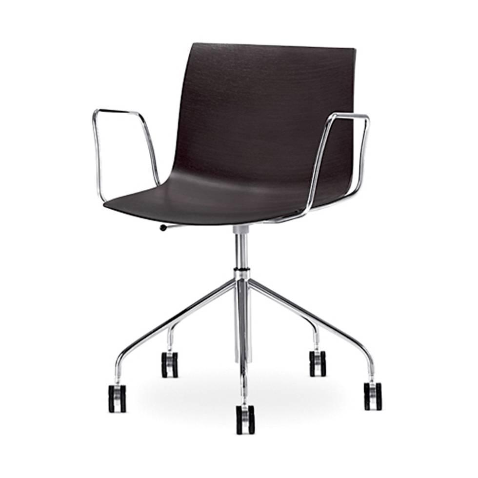 Arper Catifa 46 Desk Chair Chrome Wooden Seat S