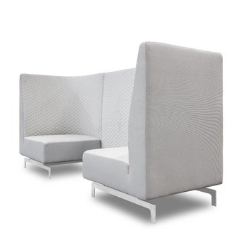 Arco OUTLET | Arco Side by Side Highback | 240 x 80 x 120 cm | Grey triangle smoke | Grey hero 101 / 211 | Stainless steel