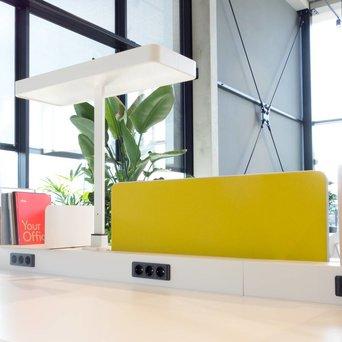 Vitra OP=OP | Vitra Joyn | Centraal scherm | 96 x 33 cm | Geel / pastelgroen plano