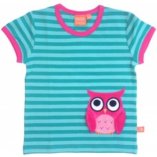 Lipfish shirt Owl aqua stripe