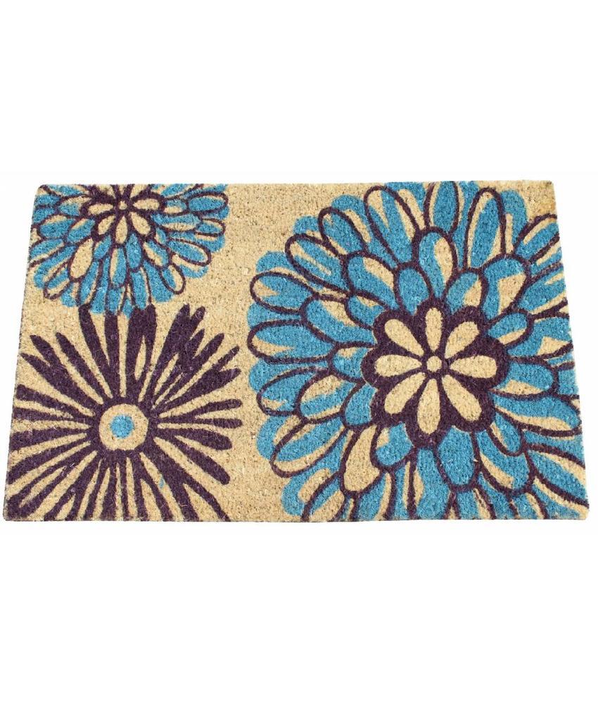 Kokosmat Happy Flowers blue 45x75 cm.