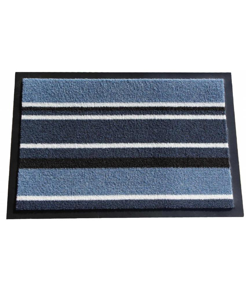 Schoonloopmat Blauw gestreept 60 X 80 cm.
