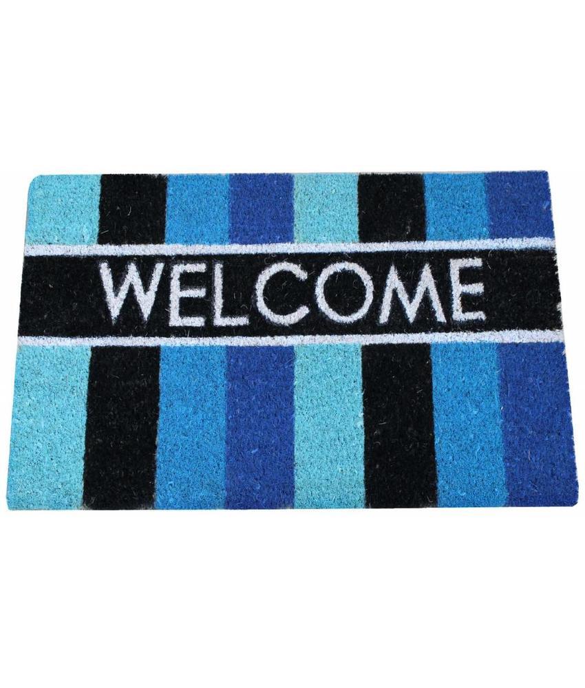 Kokosmat Welcome Stripes Blue 40 x 70 cm.