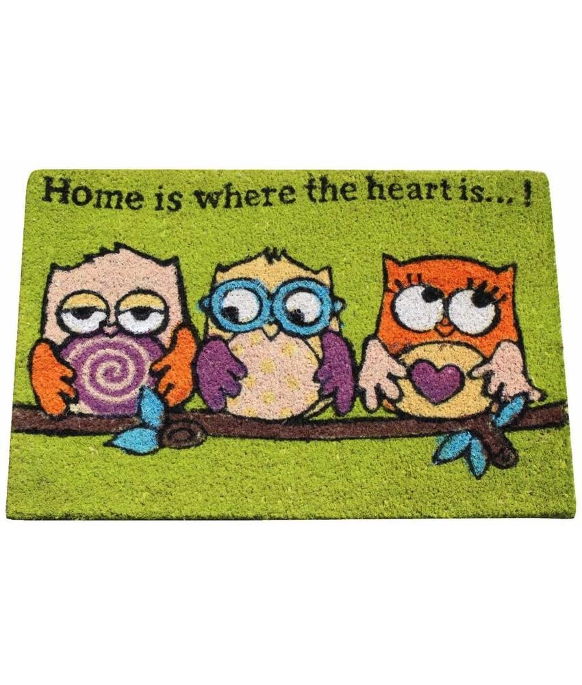 Kokosmat Trio Owls Groen 40x60 cm.