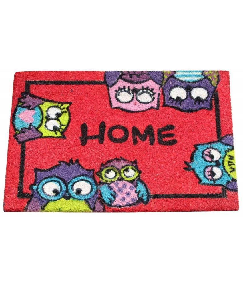 Kokosmat Home Owls Rood 40x60 cm.