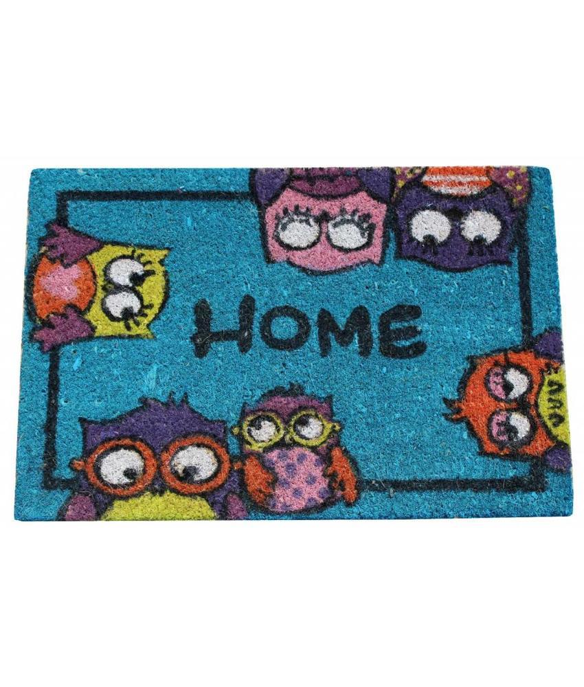 Kokosmat Home Owls Blauw 40x60 cm.