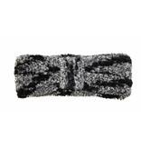 Haarband Dames Chenille Zwart/grijs