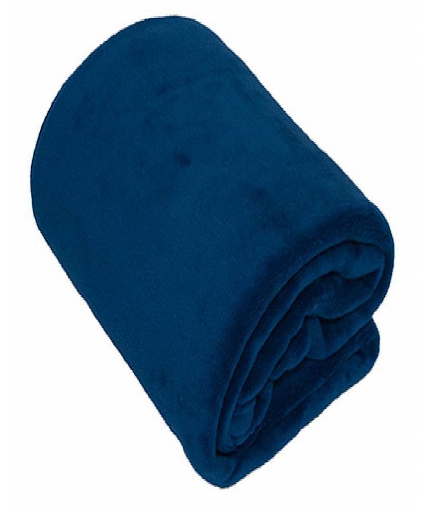 Fleece Plaid groot 150x200 cm Navy Blauw