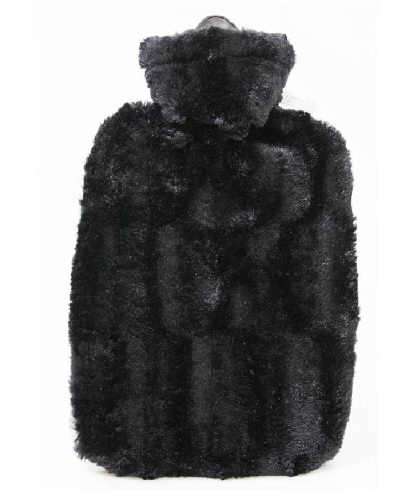 Warmwaterkruik zacht donzige fleece Zwart