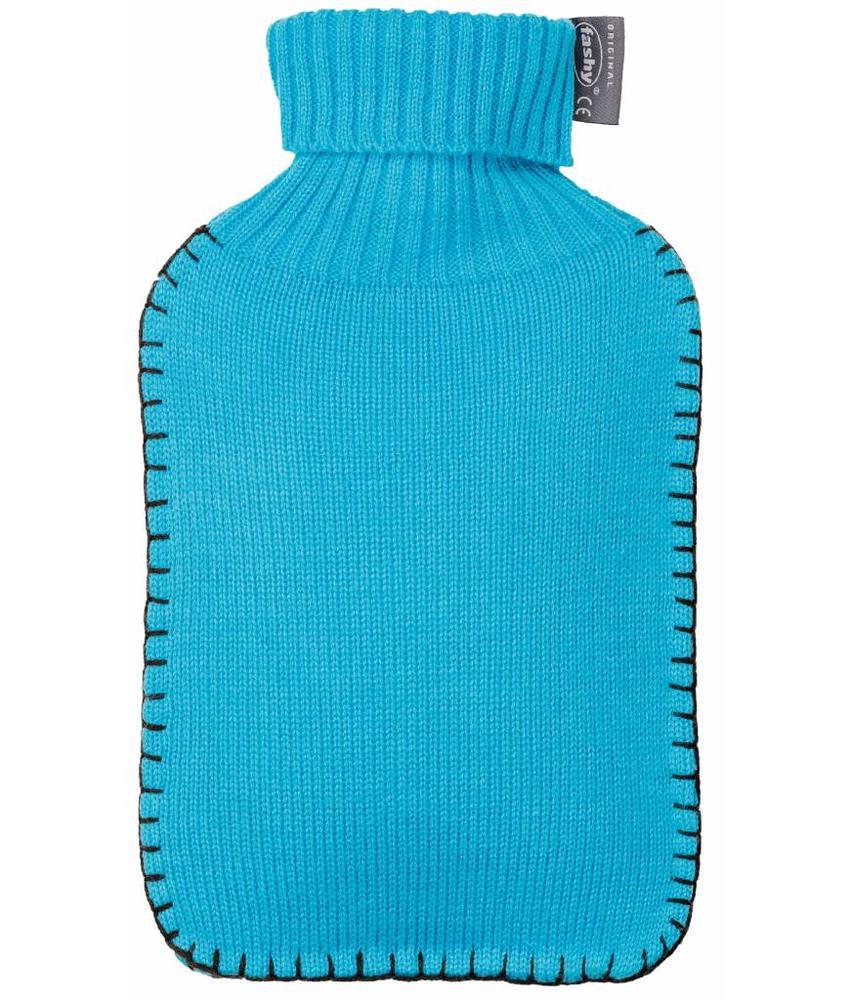 Fashy Warmwaterkruik gebreide rolkraag blauw