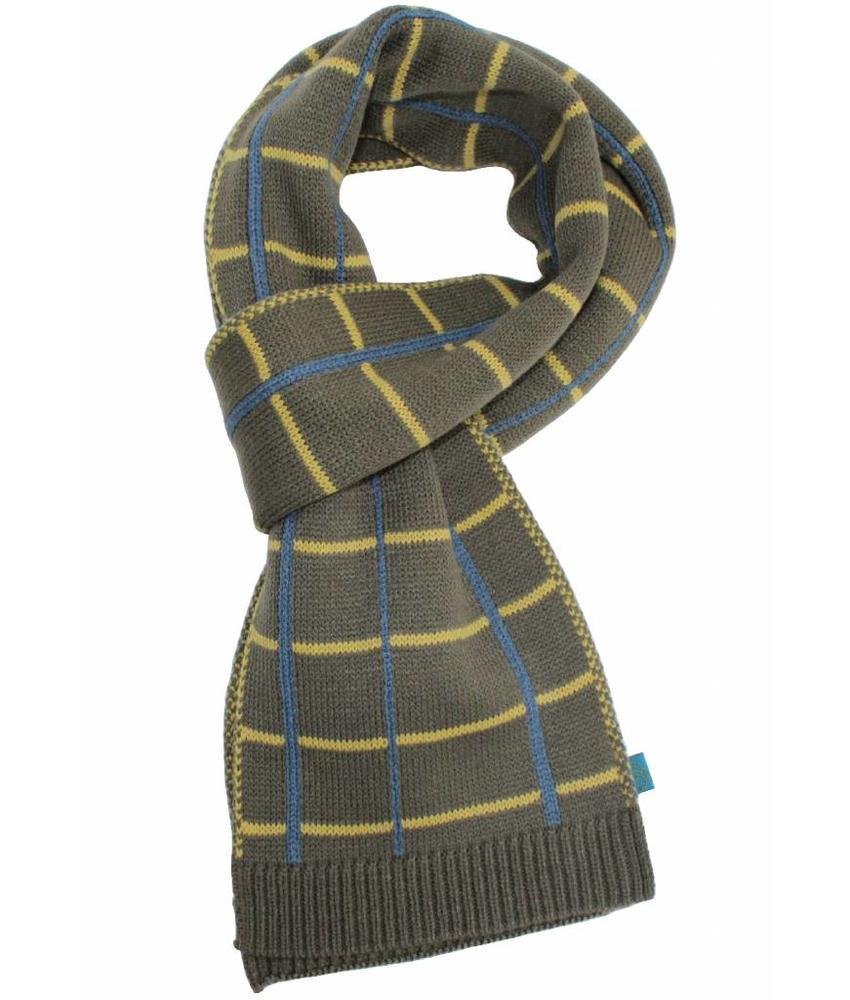Sjaal gestreept Kaki/blauw/oker