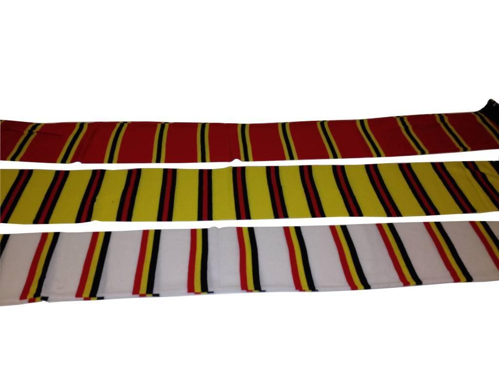 Sjaal gestreept België Wit / Zwart / Geel / Rood - Megatip.be