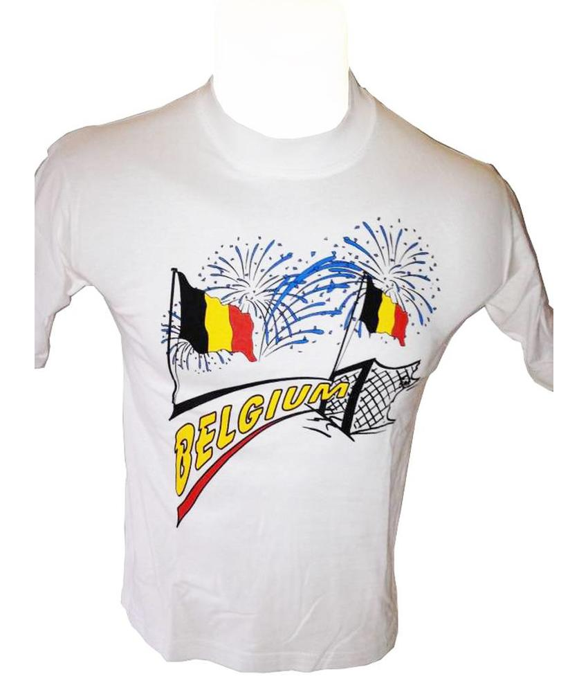 T-shirt Belgium 2 vlag (wit)