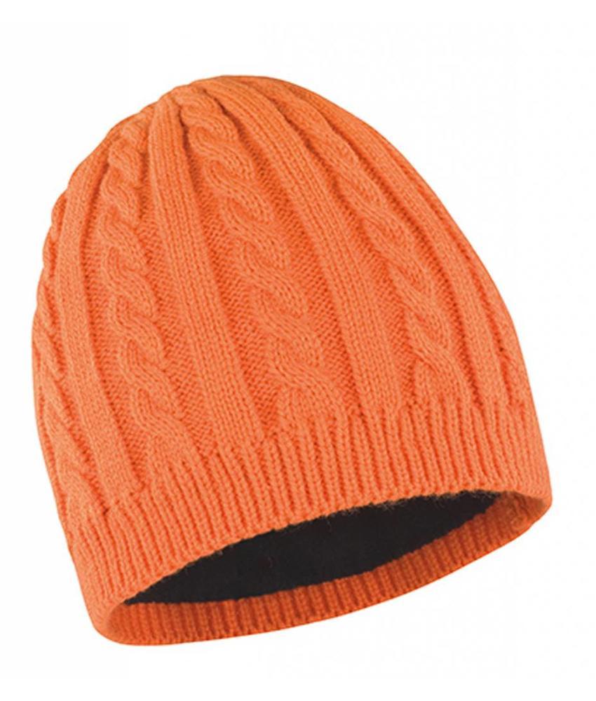 Gebreide muts met fleece oranje