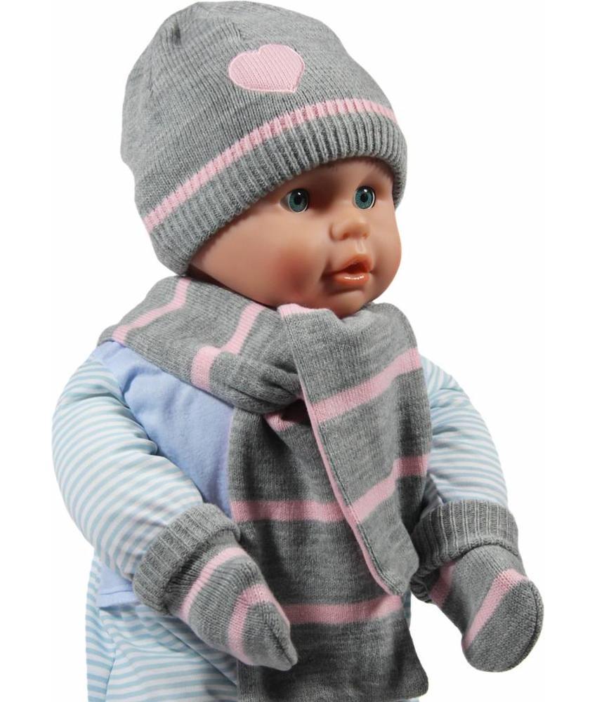 Gebreide winterset Baby grijs / roos