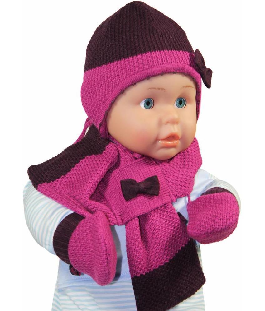 Baby winterset met strikje paars/roos