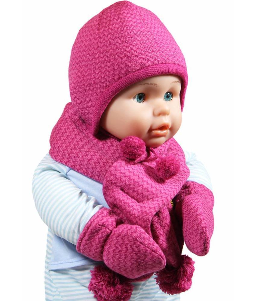 Baby Muts , sjaal en wanten roze