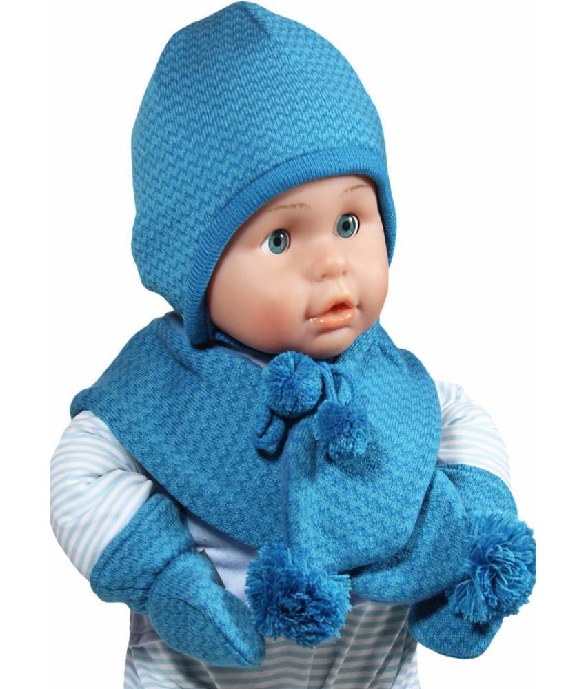 Baby Muts , sjaal en wanten blauw