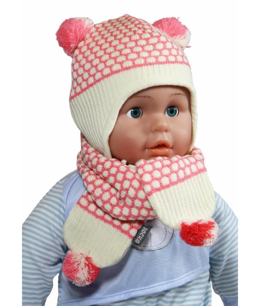 Baby Muts en Sjaal pompon roze/ecru