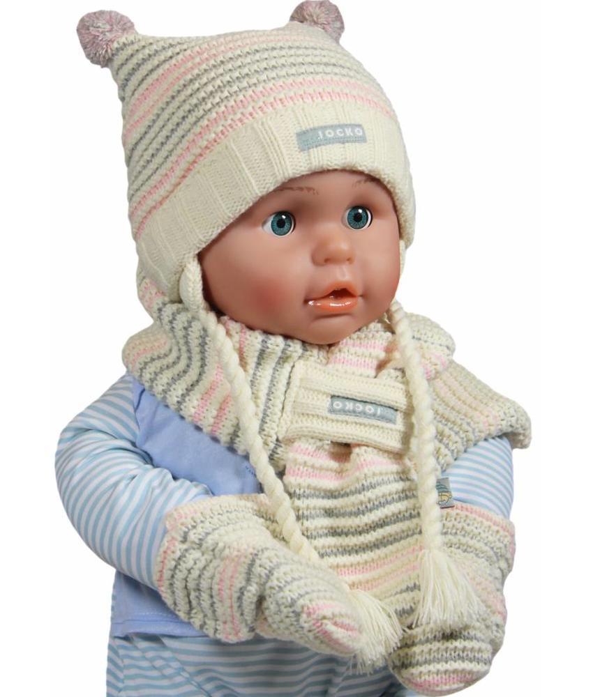 Baby winterset pompon ecru/roze