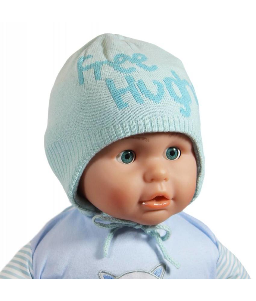 """Babymuts over de oren """"Free Hughs"""" mint"""