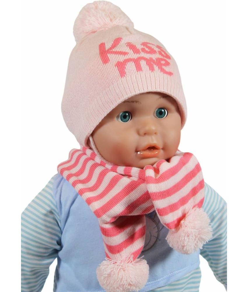 Baby muts en sjaal pompom pink